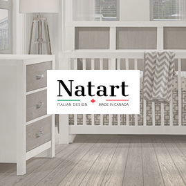 Focus on natart logo with faded background of white and brown wooden crib and 3 drawer dresser