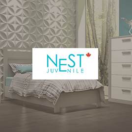 Nest logo with a faded background of a kid's room