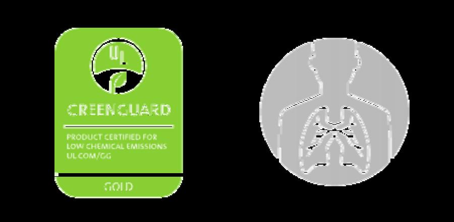 Green greenguard logo + icon of human Lungs