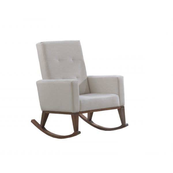 Rocking chair with white linen cushions and dark brown walnut wood legs