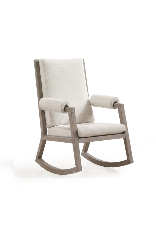 Senza wooden rocking chair with linen beige cushions