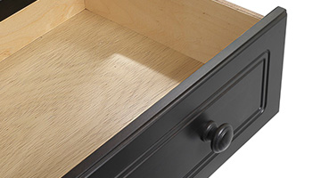 Close up of open dresser drawer