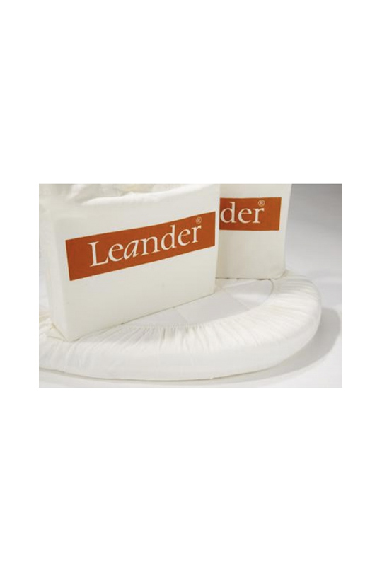 White crib sheets for leander convertible crib with orange leander logo (set of 2)
