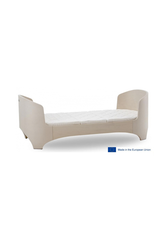 leander junior bed in whitewash, with logo made in the european union