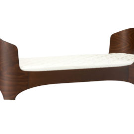 junior bed in walnut with a bare mattress