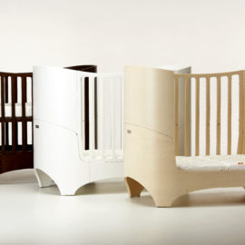 "3 leander ""4-in-1"" wooden convertible crib in beige, white and dark brown colors"