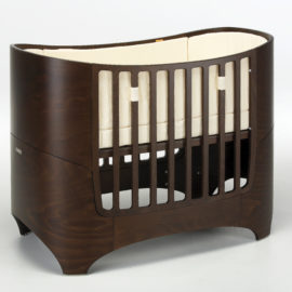 "leander ""4-in-1"" wooden convertible crib in walnut"