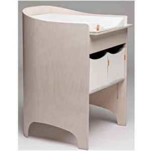 Leander changing table in whitewash (beige) with white mat and two white storage boxes