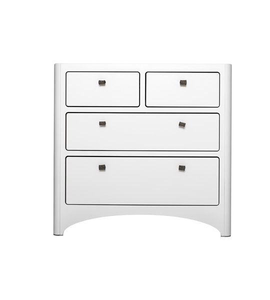 Leander wooden dresser with 4 drawers in white