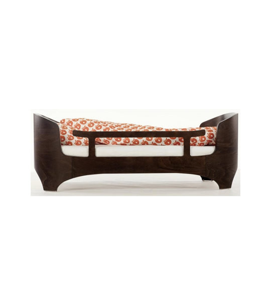 leander junior bed in dark walnut wood with orange and white duvet and safety gate