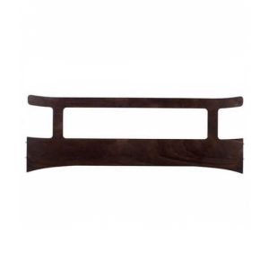 leander safety gate in a walnut wood color