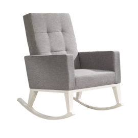 rocking chair with grey cushions and white wooden legs