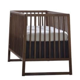 rio dark wooden classic crib with white mattress