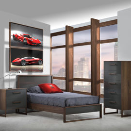 Grey teen room wth framed pictures of red sports car on walls, rio walnut wood nightstand, dresser and bed with granite grey glossy finish