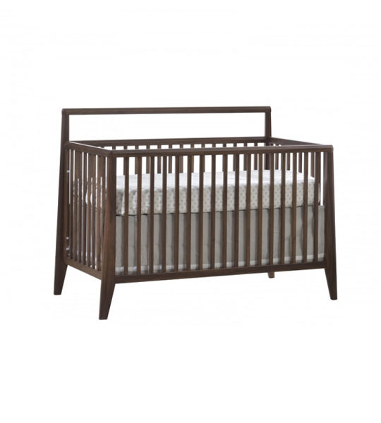 dark brown walnut wood convertible crib with a white glossy finish