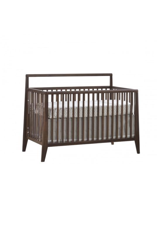 dark brown walnut wood convertible crib with a white glossy finish