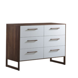Dark brown wooden double dresser with a glossy facade finish for the drawers in white