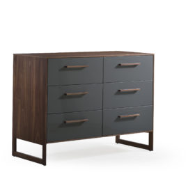 Dark brown wooden double dresser with a glossy facade finish for the drawers in a dark grey