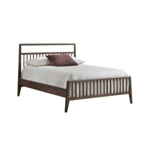 Dark brown walnut wood doubel bed with a glossy facade finish in white