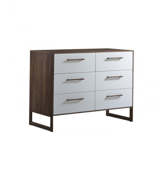 Dark brown walnut wood double dresser with a glossy facade finish in white