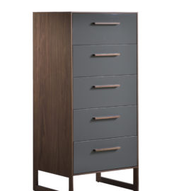 Dark brown wooden 5 drawer dresser with a glossy facade finish for the drawers in a dark grey