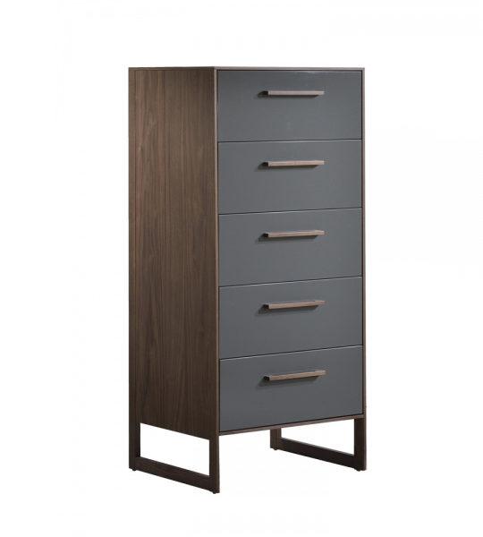 Dark brown walnut wood 5 drawer dresser with a glossy facade finish in grey