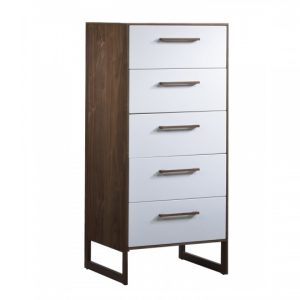 Dark brown walnut wood 5 drawer dresser with a glossy facade finish in white