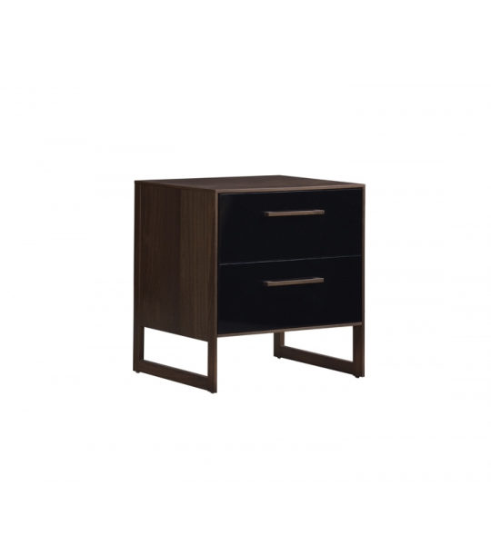 Dark brown walnut wood 5 drawer dresser with a glossy facade finish in black