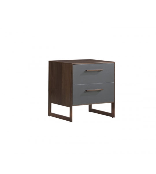 Dark brown walnut wood 2 drawer nightstand with a glossy facade finish in grey