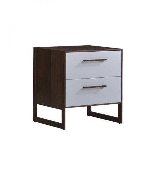 Dark brown walnut wood 5 drawer dresser with a glossy facade finish in white