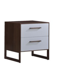 Dark brown wooden 2 drawer nightstand with a glossy facade finish for the drawers in white