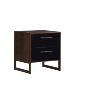 Dark brown wooden 2 drawer nightstand with a glossy facade finish for the drawers in black