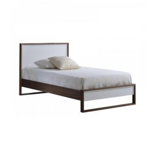 Dark brown walnut wood twin bed with a glossy facade finish in white