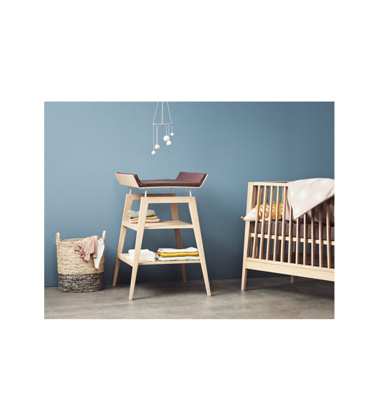 Blue bedroom with linea Crib and Changing Table with mat
