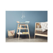 Blue bedroom with linea Crib and Changing Table with mat in blue