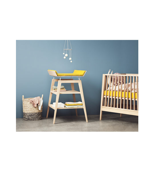 Blue bedroom with linea Crib and Changing Table with mat in yellow