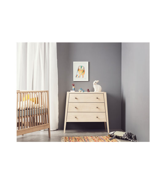 Grey bedroom with Linea Wooden 3 Drawer Dresser with a framed drawing and linea crib