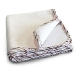 Beige blanket folded with striped detailing