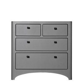 Grey dresser with black knobs and 4 drawers