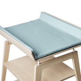linea wooden changing table with blue mat