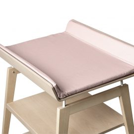 linea wooden changing table with pink mat