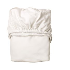 Baby crib folded fitted sheet in white