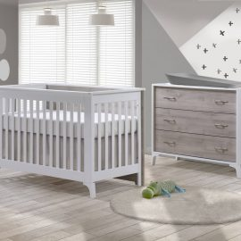 Metro Collection Baby Room with Crib and Dresser in White and Ash