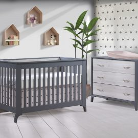 Metro Collection Baby Room with Crib and Dresser in Charcoal and White