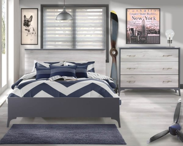 Metro Collection Bedroom with Double Bed and Dresser in Charcoal and White