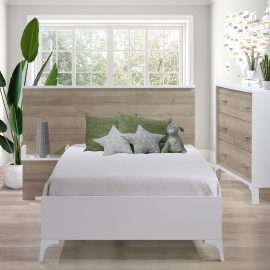 Metro Collection Bedroom with twin Bed and Dresser in White and Natural Oak