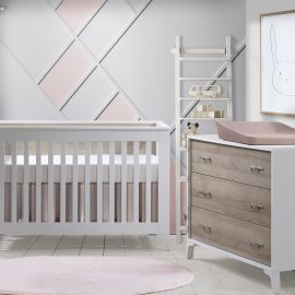Metro Collection Baby Room with Crib and Dresser in White and Natural Oak