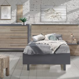Urban Collection Bedroom with Double Bed and Dresser in Charcoal and Natural Oak