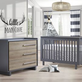 Urban Collection Baby Room with Crib and Dresser in Charcoal and Natural Oak