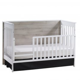 Urban Classic Crib as Daybed with Toddler Gate in White and Ash